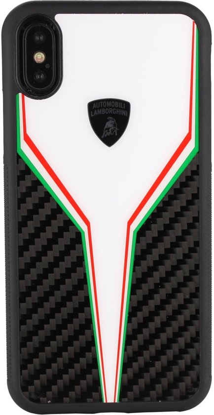 Lamborghini backcover hoesje D2 Serie Apple iPhone X-Xs Wit - Silicone - TPU