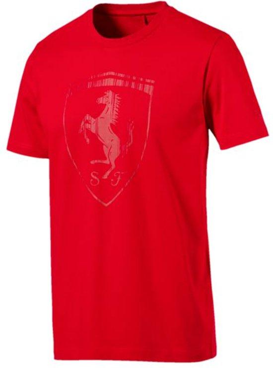 PUMA Ferrari Big Shield Tee Shirt Heren - Rosso Corsa