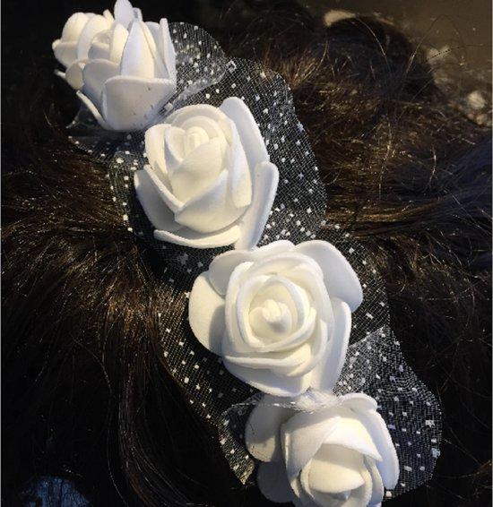 Haarversiering- Diadeem- Witte bloemen- kinder