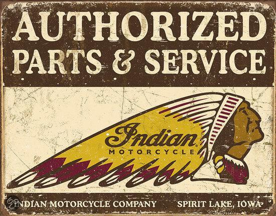Signs-USA Authorized Indian Parts & Service - Retro Wandbord - Metaal - 40x30 cm