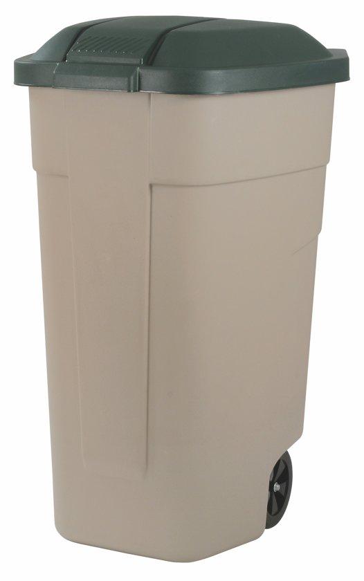 Curver Verrijbare Prullenbak - 110 l - Taupe/Donker groen