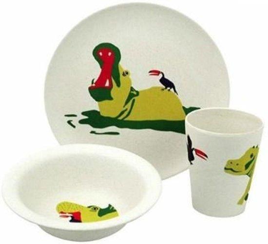 Zuperzozial Raw Earth Hungry Hippo Kinderservies - 3 delig