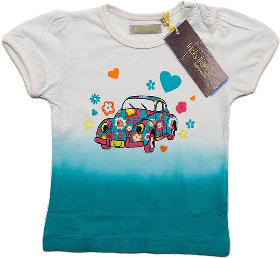 Baby meisjes shirt flowered car maat 68