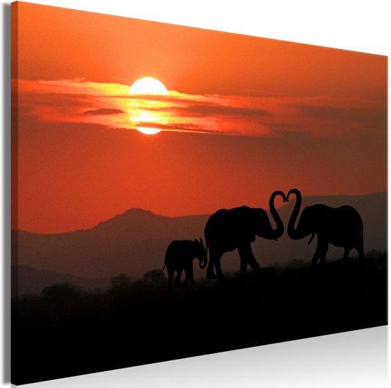 Schilderij - Olifanten Liefde
