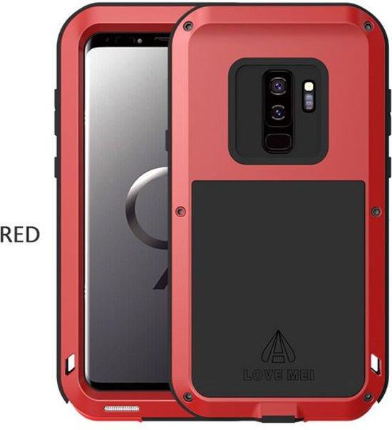 Metalen hoes voor Samsung Galaxy S9, Love Mei, metalen extreme protection case, zwart-rood
