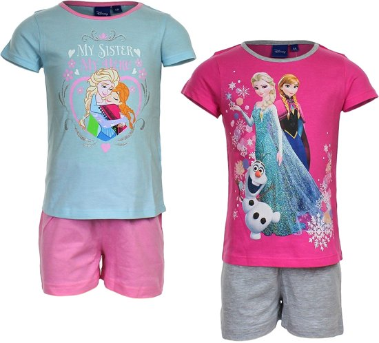 6c6b7770d92 Disney kinderpyjama (shortama) van Corazonkids Frozen mint met roze broek  maat 110