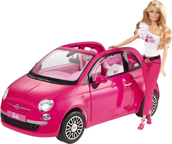 barbie met fiat 500 barbie pop met barbie auto roze mattel speelgoed. Black Bedroom Furniture Sets. Home Design Ideas
