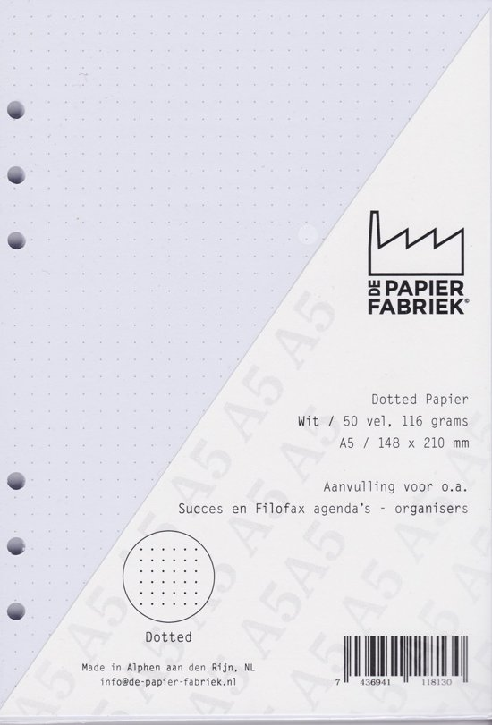 Aanvulling  A5 Notitiepapier voor o.a. Agenda's 50 vel = 100 pagina's 120g/m² Dotted - Blanco  A5 Formaat Wit Combi Papier