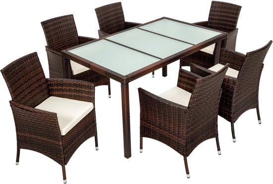 Bol.com wicker tuinset tafel met 6 stoelen bruin 401994