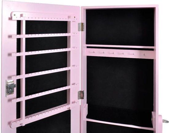 Vidaxl staande spiegel sieradenkast met for Staande spiegel hout