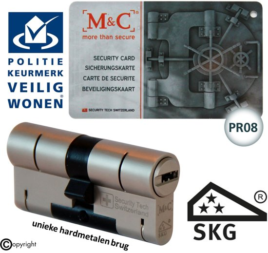 M & C Color Pro Anti kern & cilindertrek cilinder  32/57mm skg*** incl. 3 color Pro sleutels.