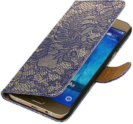 Wicked Narwal   Lace bookstyle / book case/ wallet case Hoes voor Samsung Galaxy A3 (2016) A310F Blauw