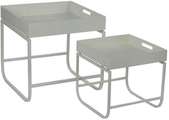 Bol.com mica decorations tafel wit set van 2 grootste maat in cm