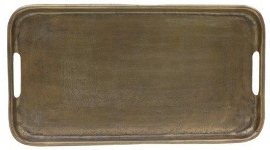 Dienblad antiek brons rechthoek metaal brons - 54x30cm