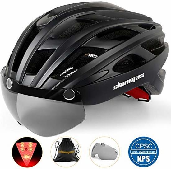 Fietshelm met afneembaar vizier en verlichting | wielren helm | racefiets helmen | Mountainbike | MTB | Achterlicht | Bril