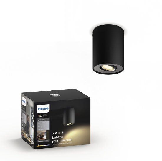 Philips Hue Pillar opbouwspot - White Ambiance - 1-lichts - zwart