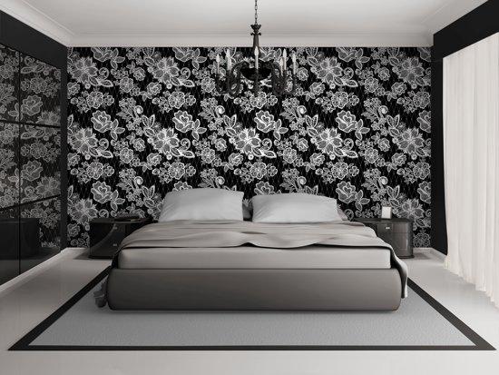 fotobehang bloemen slaapkamer zwart wit 208x146cm