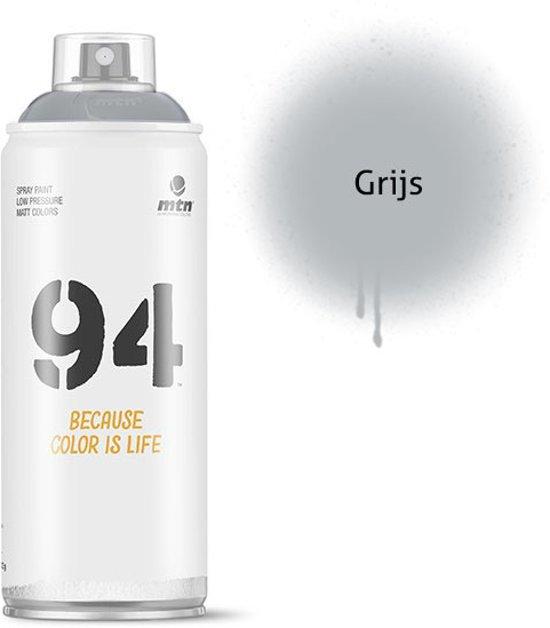 MTN94 Grijze spuitbus - 400ml lage druk en matte afwerking spuitverf - Graffiti verf voor vele doeleinden zoals voor diy, klussen, graffiti, hobby en kunst