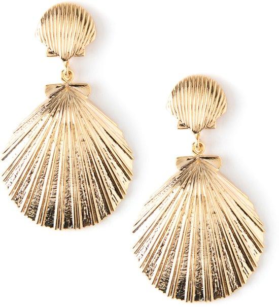 Orelia oorbellen, stekers met kleine en grote schelp goudkleurig