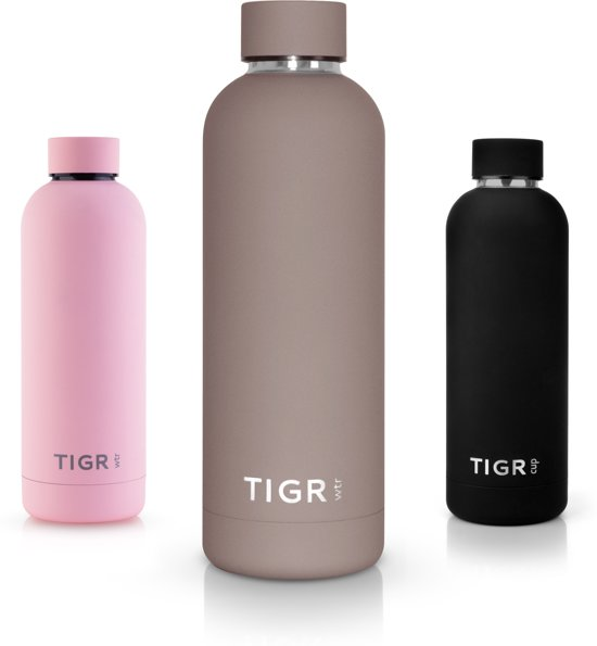 TIGR Thermosfles in Roestvrij Staal RVS - Drinkfles - 500ML - Taupe