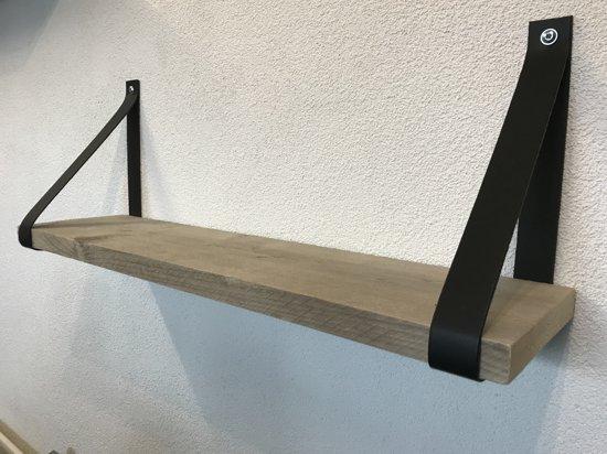 Plankendragers Echt zwart leer – Perfect voor steigerhouten planken – Set van 2 Echt lederen plankendragers