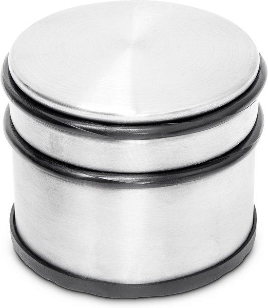 relaxdays deurstopper XL 1 kg deurstop rvs look, deurpuffer verchroomd zilver