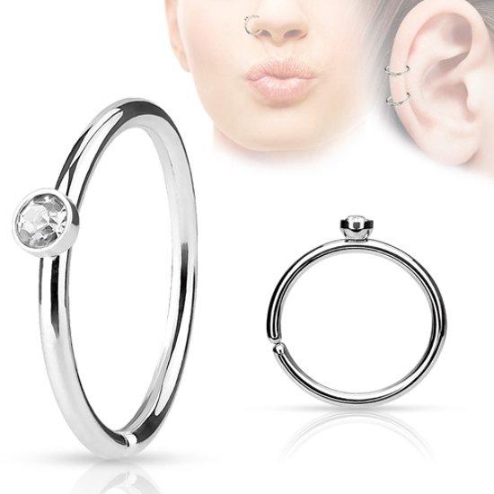 Helix piercing klein steentje wit