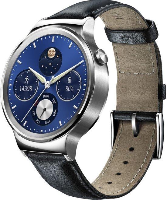 Huawei Watch Classic W1 Smartwatch - Zilver - met zwarte leren band