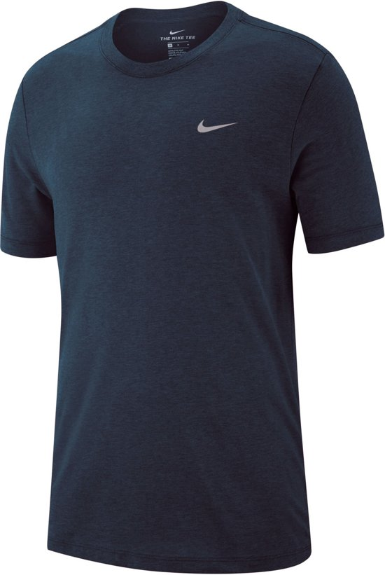 Nike Dry Tee Sportshirt - Maat XXL  - Mannen - blauw/wit