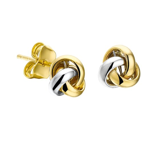 The Jewelry Collection Oorknoppen Knoop - Bicolor Goud