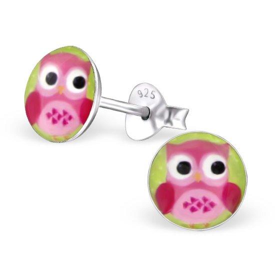 Kinderoorbellen rond met roze uil blingdings