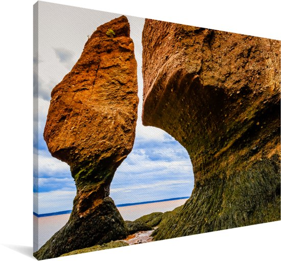 De Hopewell Rotsen bij de Fundybaai Canvas 140x90 cm - Foto print op Canvas schilderij (Wanddecoratie woonkamer / slaapkamer)
