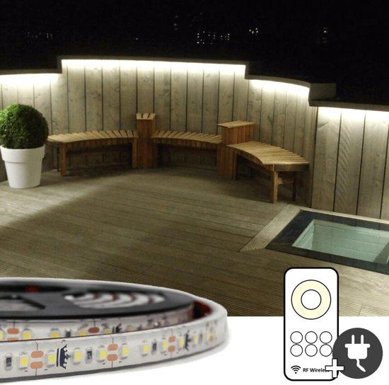 bol.com | 5 meter Helder Witte led strip voor buiten complete set ...