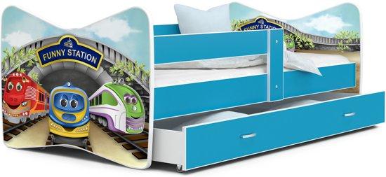 Kinderbed trein 80x160 cm- wit/blauw - met lade - met matras