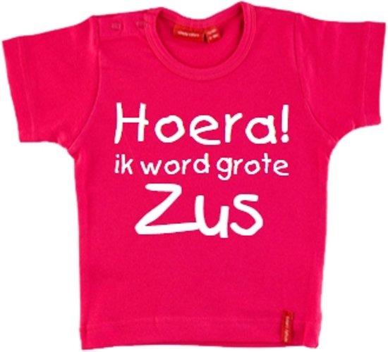T-shirt |  Hoera! ik word grote zus| roze | maat 86/92