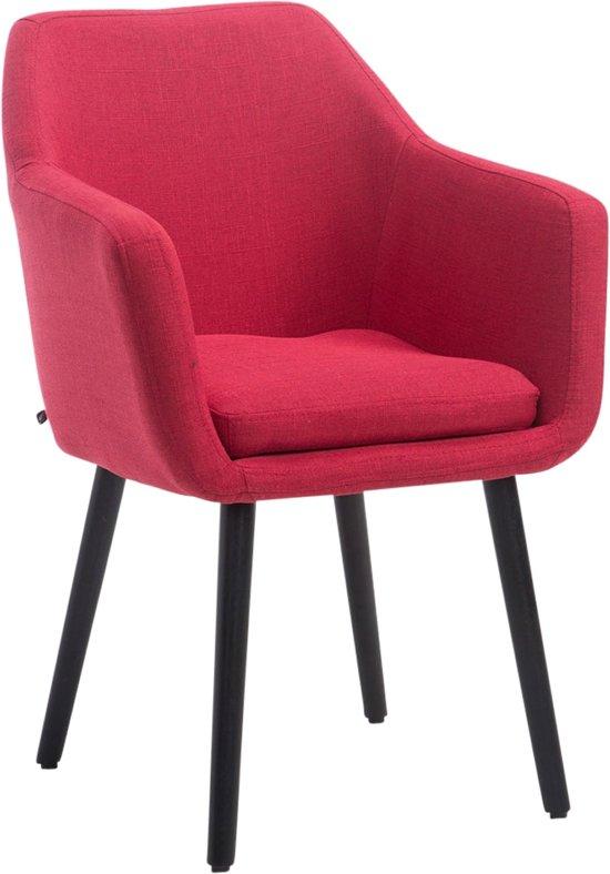 Clp Utrecht - Eetkamerstoel - Stof - Rood kleur onderstel : Zwart