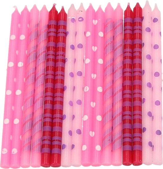 Roze Verjaardag Kaarsjes voor op de Taart - 16 stuks - 13x6x2 cm | Taartdecoratie Feestkaarsjes | Kaarsen Valentinaa