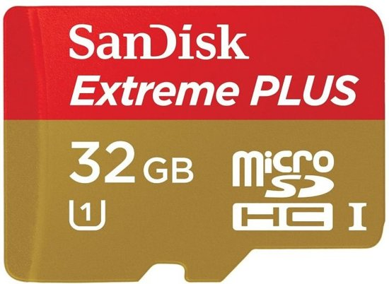 Sandisk Extreme PLUS Micro SD kaart 32 GB + SD adapter