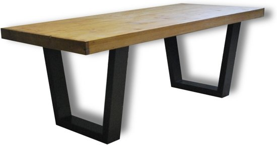bol.com | Tafel Fynn - 4/6 Persoons - Eettafel - Bruin/zwart ...