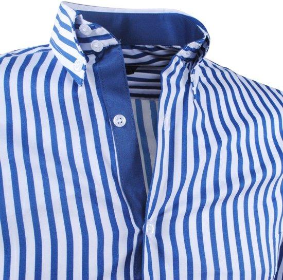 Montazinni Overhemd Montazinni Blauw Heren Gestreept Overhemd Heren Gestreept qX6tcw8