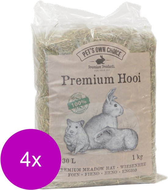 Pet's Own Choice Premium Hooi - Ruwvoer - 4 x 1 kg