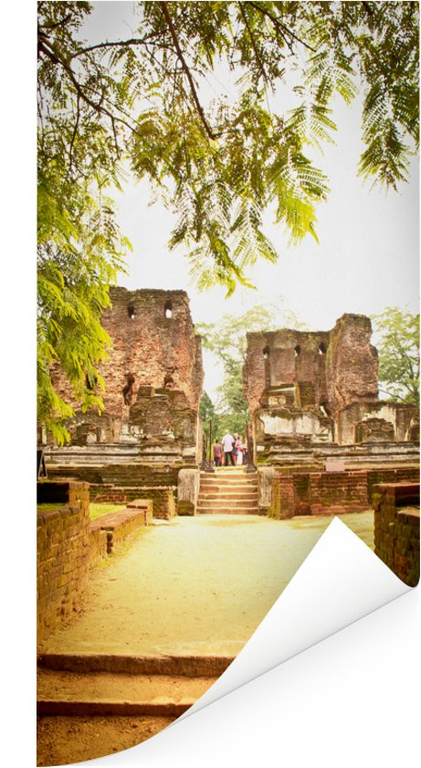 Zonovergoten Sri Lankaanse tempel van Polonnaruwa Poster 75x150 cm - Foto print op Poster (wanddecoratie woonkamer / slaapkamer)
