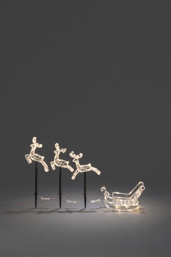 afbeelding van konstsmide 4447 verlicht kerstfiguur 60 lamps led acrylset arreslee 3 rendieren
