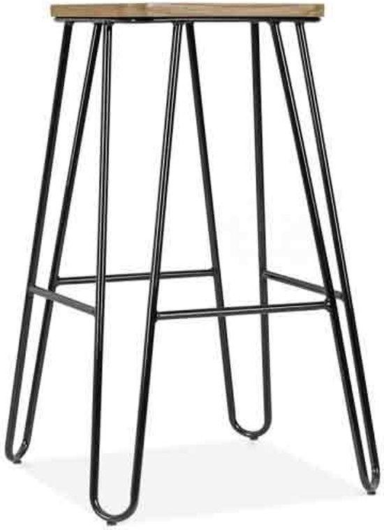 Legend - Wire - Metalen kruk - Midden 65 cm - Houten zitting - Zwart