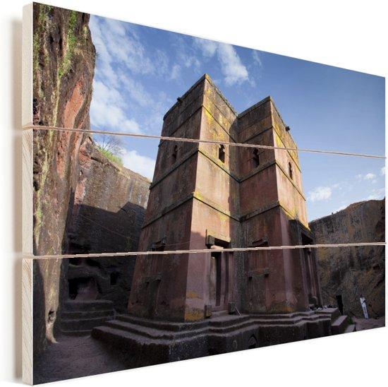 Lalibela de rots gehouwen kerk in zonlicht Ethiopië Vurenhout met planken 120x80 cm - Foto print op Hout (Wanddecoratie)