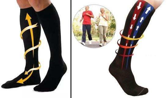 Steunkousen - Compressiekousen - Reissokken - Steunkousen Voor Op Reis- Heren/Dames -  Maat L/XL - Travel Socks - Support Stockings