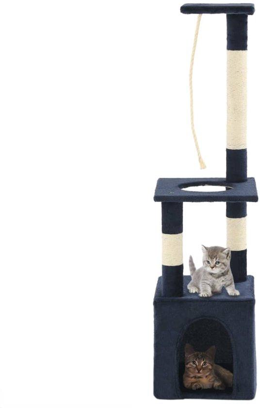 vidaXL Kattenkrabpaal met sisal krabpalen 109 cm donkerblauw
