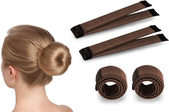 Magic Bun Maker | Set - 2 stuks + Haarelastiek | Bruin | Maak De Perfecte Knot | Fashion Favorite