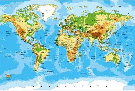 bol | wereldkaart op poster muur deco groot 150x100 cm