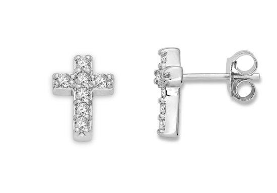 Majestine oorbellen - 925 zilver - oorknoppen - kruis - briljant geslepen zirkonia